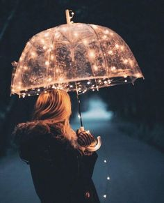 Transparent umbrella with LED light string.Awesome for rainy days!