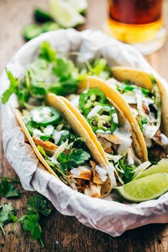 20-Minute Ancho Chicken Tacos - super easy, super delicious, and loaded with cilantro, jalapeño, and lime juice!