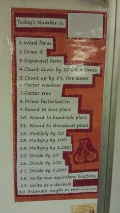 math classroom ideas | Math Classroom Ideas / Number of the day math warm up. Can be adapted ...