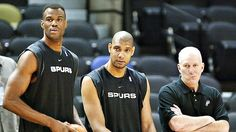 David The Admiral Robinson, Tim Duncan, and Coach Gregg Popovich. san-antonio-spurs