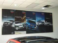 Fabric banner frame in Audi's showroom. Point Of Sale, Framed Fabric, Showroom, Signage, Banner, Retail, Car, Ideas, Framing Fabric