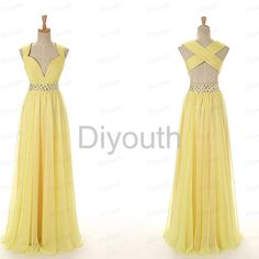 Yellow prom dress open back prom dress long prom by Diyouth, $109.99