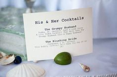 "Cute ""His & Hers"" Signature Cocktail Menu Ideas"