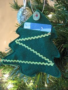 Sneak a gift one someone's tree with an ornament!   DIY gift card holders