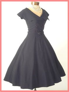 "Bettie Page 50s Vintage Style Black ""Secretary"" Swing Dress"