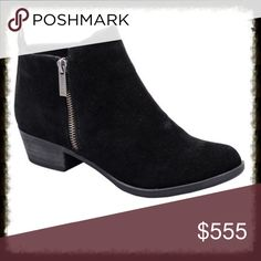 Coming Soon Black Suede Ankle Boots Cute with zipper details. Black faux suede ankle boots. Nice comfortable low heel. Shoes Ankle Boots & Booties