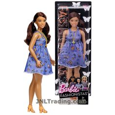Barbie Year 2016 Fashionistas Series 12 Inch Doll - Curvy Hispanic BARBIE DYY96 in Beautiful Butterflies Lavender Dress with Necklace
