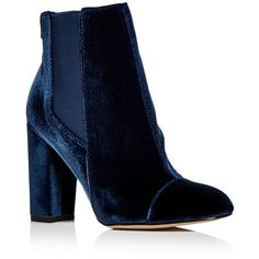 Sam Edelman Women's Case Velvet Cap Toe High Heel Booties (575 PLN) ❤ liked on Polyvore featuring shoes, boots, ankle booties, dark blue, sam edelman, velvet boots, high heel booties, high heel boots and dark blue boots
