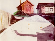 """boats on ramp ns 11"""" x 16"""" micheal zarowsky watercolour on arches paper / private collection"""