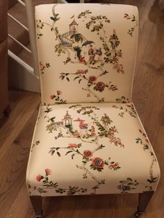 Milo chair, covered in Cathy ivory garden 100%silk, comes in 4 colour ways