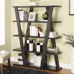 Inverted Support Open Wooden Bookshelf with 5 Shelves