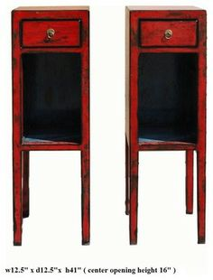 pair red lacquer narrow tall side tables stands modern side tables and accent tables