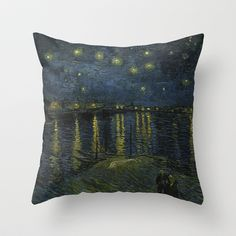 Starry Night Over the Rhone by Van Gogh Throw Pillow by TilenHrovatic - $20.00