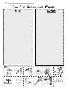 I Can Sort NEEDS and WANTS / Picture Worksheet. Social Studies for Kindergarten and First Grade. $