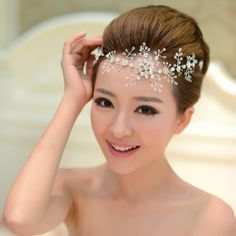 Crystal snowflake winter bridal wedding hair vine tiara hair accessories
