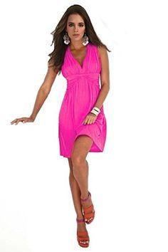 Charm Your Prince Women's Sleeveless Summer Sundress Medium Hot Pink