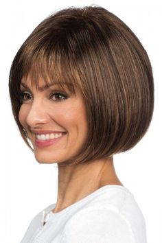 Shop our selection of short bob style wigs! Scorpio by Revlon Wigs boasts full fringe bangs with a rounded bob cut and features a cool, capless construction. Asymmetrical Bob Haircuts, Bob Hairstyles For Fine Hair, Layered Bob Hairstyles, Short Bob Haircuts, Bob Lung, Longbob Hair, Short Bob Styles, Bobs For Thin Hair, Curly Hair Styles