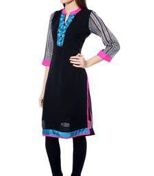 Buy Black plain Georgette kurtas-and-kurtis kurtas-and-kurti online