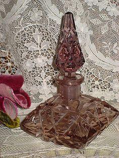 Vintage Czech Mauve Cut Crystal Perfume Bottle