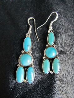 Navajo Carico Lake Turquoise Sterling Silver Cluster Chandelier Earrings Native