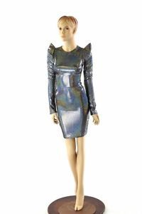 Silver Holographic Sharp Shoulder Long Sleeve by CoquetryClothing Cyborg Costume, Holographic Dress, Pop Art, Grunge, Pink Lemon, Lycra Spandex, Clubwear, Dance Wear, Party Dress
