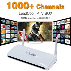 IPTV Streaming Box Leadcool Android Wifi 1G/8G 1000+ Italy Portugal French IPTV Receiver Europe Arabic Sky IPTV Channels Package