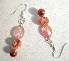 Pink bead earrings. $17.00, via Etsy.