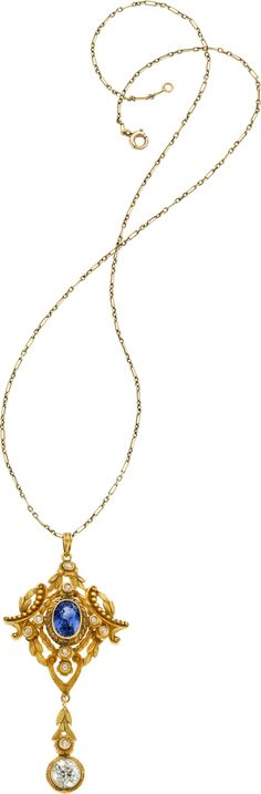 Antique Sapphire, Diamond, Gold Pendant-Necklace
