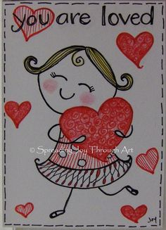ACEO Original Art Joy Valentine Love Red Heart Girl Woman Cute Doodle Zentangle #Miniature