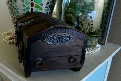 Wooden Treasure Chest Box Vintage by MaiAloha on Etsy, $9.00