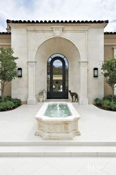 Mediterranean Neutral Exterior with Fountain