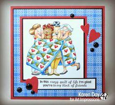Art Impressions: Ai Girlfriends: Quilt Set (SKU#4544)handmade card.