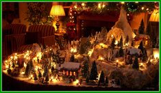 Beautiful Christmas village, love this! Log Cabin Christmas, Lemax Christmas, Christmas Village Display, Christmas Village Houses, Christmas Town, Christmas Villages, Winter Christmas, Christmas Lights, Christmas Crafts