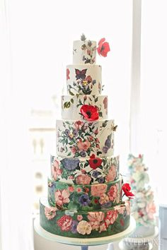 Fabulous hand-painted wedding cakes are popping up all over wedding cake world. Floral Wedding Cakes, Wedding Cakes With Flowers, Wedding Cake Designs, Cake Wedding, Flower Cakes, Butterfly Wedding Cake, Peony Cake, Creative Wedding Cakes, Butterfly Cakes