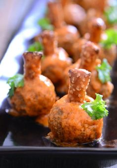 Buffalo Meatball Pumpkins | Put a festive spin on your appetizer dish by making these delicious mini meatballs!