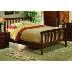 Mission King Size Bed | New King Wood Bed Frame | King Bed | Dark... ($499) ❤ liked on Polyvore