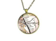 Handmade vintage bronze Colorado Springs map necklace