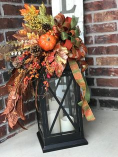 Beautiful fall lantern to adorn a table or front porch Fall Lanterns, Large Lanterns, Lanterns Decor, Candle Lanterns, Fall Candle Centerpieces, Autumn Decorating, Porch Decorating, Decorating Ideas, Deco Floral