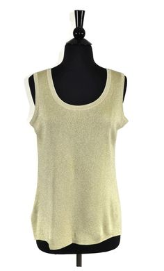 8ca8cf08 Exclusively Misook Gold Metallic Knit Tank Top Size Medium / M. Available  at Luxury Fashion