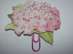 Handmade Pink Flower Paperclip Page Marker and Planner Decoration
