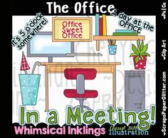 The Office Clip Art - Commercial Use, Digital Image, Png, Clipart - Instant Download - Furniture, Desk, Computer, Plant, Word Art by ResellerClipArt on Etsy