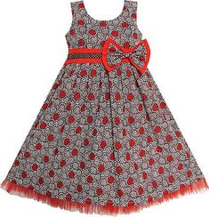 Sunny Fashion Little Girls' Dress Maroon Bow Tie Ruf. African Dresses For Kids, African Print Dresses, African Print Fashion, African Fashion Dresses, African Attire, Little Girl Dresses, Girls Dresses, Formal Dresses, Kids Dress Wear