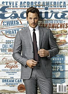 Chris Pratt is so fine in his Burberry London suit on the cover of Esquire magazine's September 2014 issue! NEWS: See more on Chris Pratt Check out the Guardians of the Galaxy actor… Chris Hemsworth, Chris Pine, Penelope Cruz, Christian Bale, Christian Grey, Chris Pratt Interview, Chris Pratt Memes, Christoph Waltz, Cover Boy