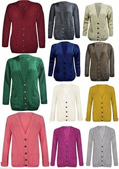 43c0f6144e8b8c Womens Long Sleeve Chunky Cable Knitted Button Ladies Grandad Long Cardigan  Size 8-26