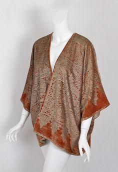 #7534 Fortuny stenciled velvet jacket at VintageTextile.com