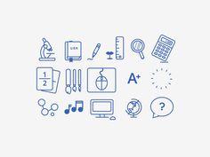 School Icons: wireframe style by Eliza Jayne Von Hagen Web Design, Vector Design, Icon Design, School Icon, School Logo, Typography Art, Bullet Journal Inspiration, Line Icon, Graphic Design Inspiration