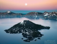 Wizard island and full moon by William Lee on 500px