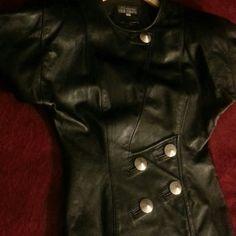 Vintage Black Leather Jacket Soft Leather Black Chic Jacket original buttons still attached & shoulder pads. No damage to exterior or linings. Modal Domani Jackets & Coats
