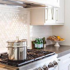 White Glass Arabesque Accent Cooktop Backsplash Tiles