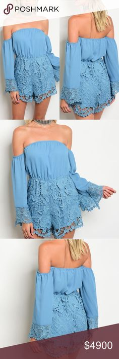 Periwinkle blue off the shoulder lace romper Coming soon! Like to be notified! Will be 49 upon arrival. GlamVault Pants Jumpsuits & Rompers